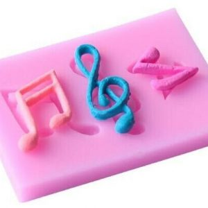 3D Music Theme Silicone Mold 3 Designs Candy Chocolate Art Treble Clef Notes