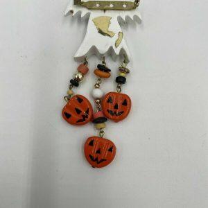 Halloween White Ghost Costume Jewelry Orange Pumpkins Wearable Pin, Brooch