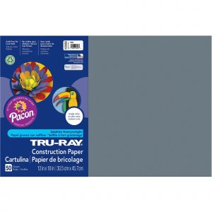 Tru-ray Constrction Paper 12in x 18 inx Color: Slate Heavyweight 50 sheets