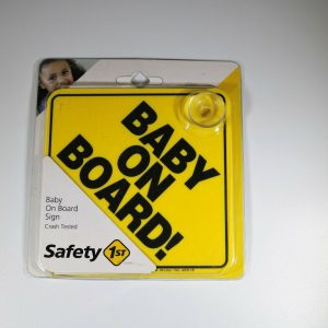 Baby on Board Sign Yellow Car Suction Cup 5 x 5 Inches Safety First