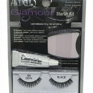 Ardell False Eyelashes Black Starter Kit Glamour 101 Demi Adhesive Applicator