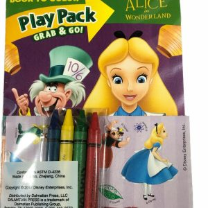 Alice in Wonderland Play Pack 4 Crayons 1 Sticker Sheet 24 pg Mini Coloring Book